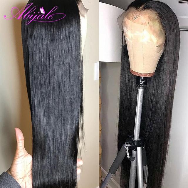 Abijale 4x4 zamknięcie koronki peruka prosto brazylijski koronki przodu włosów ludzkich peruk PrePlucked 150% gęstości Remy koronki przodu peruka