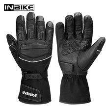 INBIKE termiczne PU rękawice motocyklowe zimowe antypoślizgowe Glvoes dla motocykli wodoodporne MTB Ski rower koza skóry Golves dla silnika