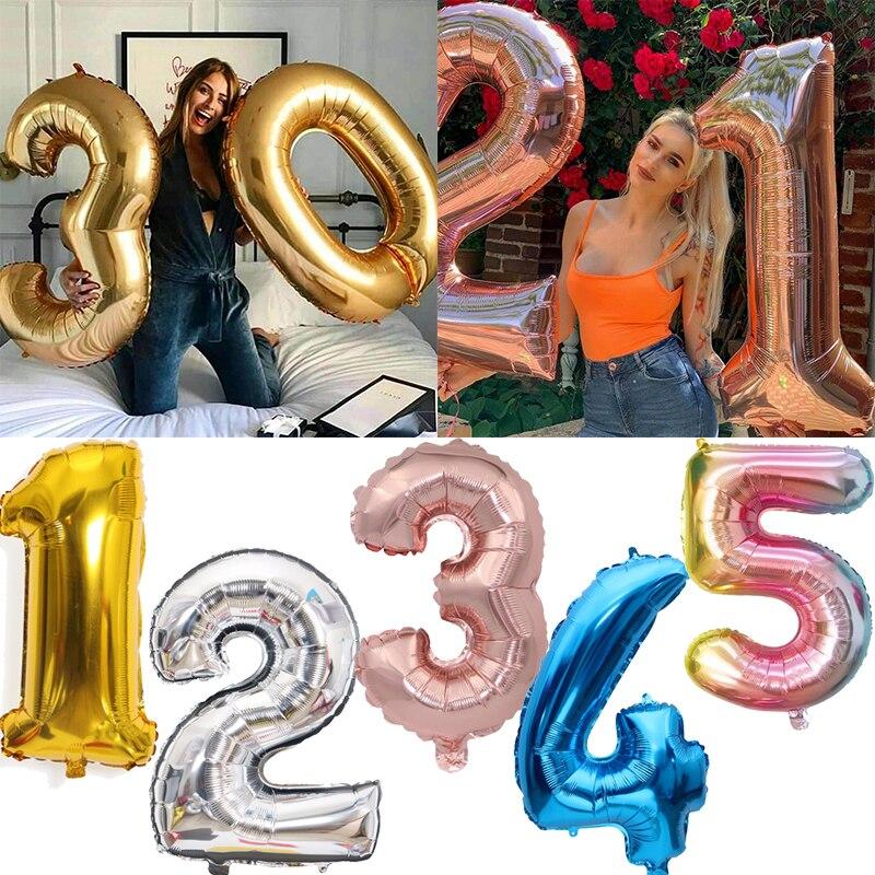16/32 polegada numerado balão da folha de alumínio do aniversário do casamento decorações da festa de aniversário crianças brinquedo do chuveiro do bebê balões