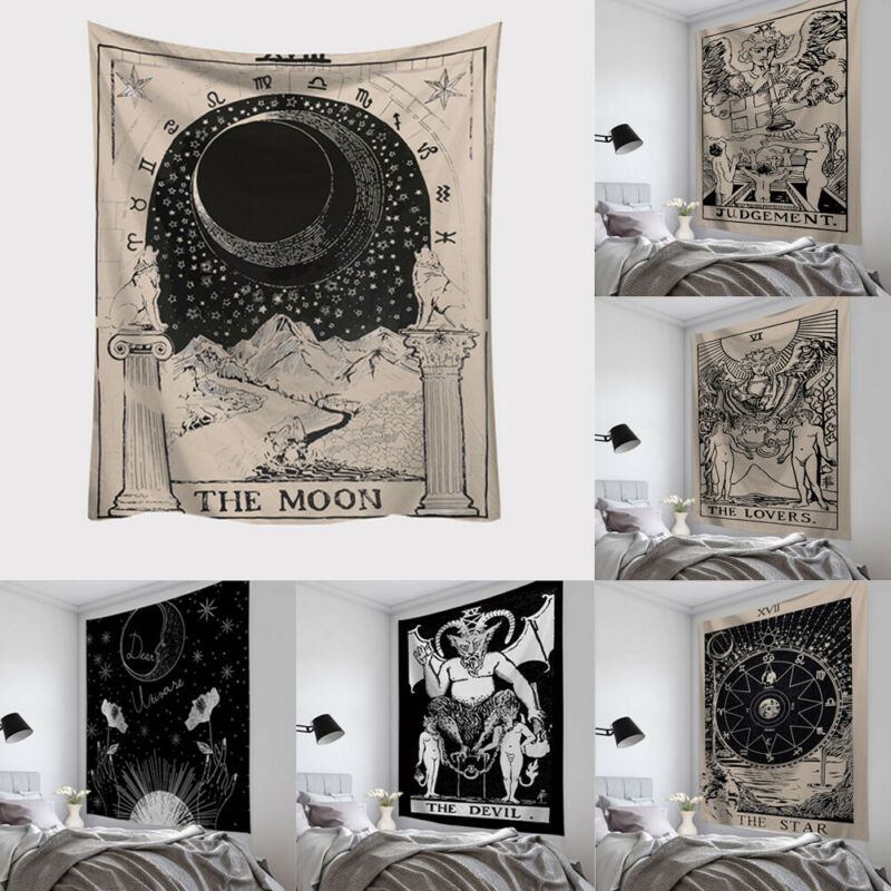 Astrology Divination Tarot Card Tapestry Wall Hanging Bedspread Beach Mat Bedroom Home Mythical Tapestries