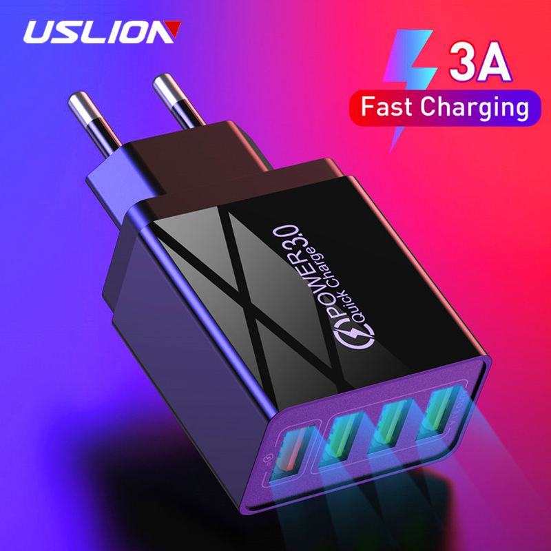 USLION 18W 4 Ports USB Charger Quick Charge 3.0 For iPhone 11 Samsung A50 A70 A40 EU US Plug QC3.0 Fast Charging Wall Charger image