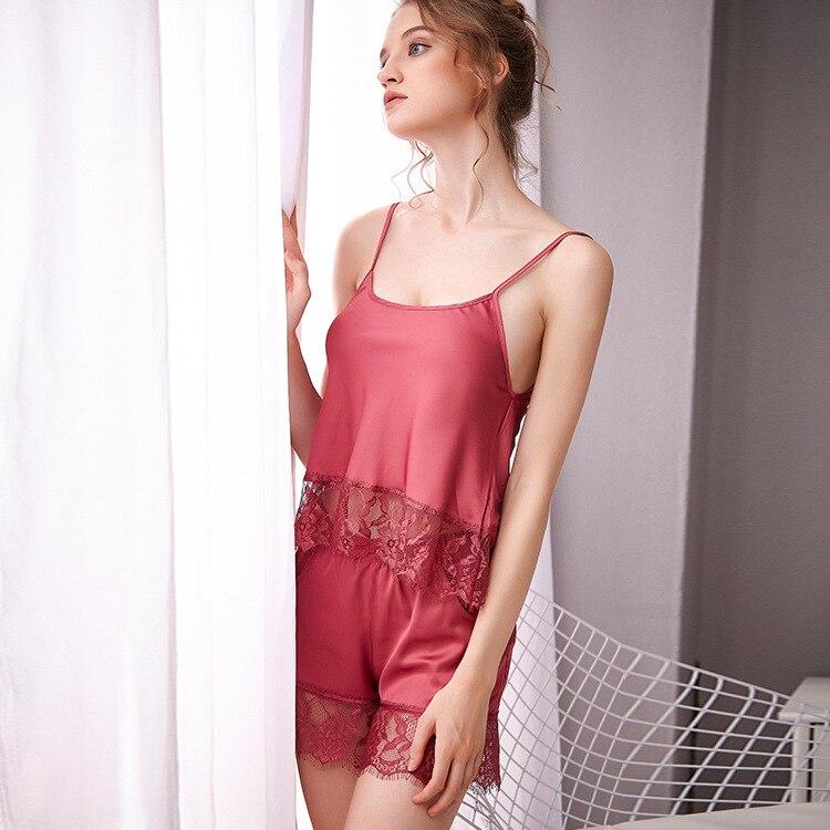 Summer Shorts Lace Viscose Princess Pajamas Navel Slip Nightdress Sexy Two-Piece Set Women's Home Wear