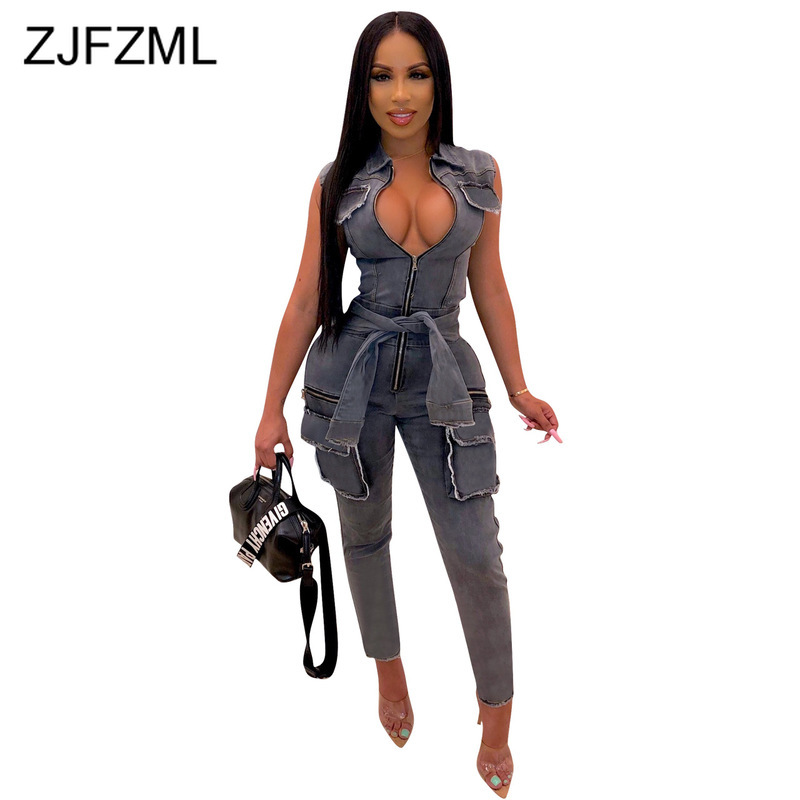 Sleeveless Bodycon Denim Jumpsuits For Women Turn Down Collar Front Zipper Bandage Playsuits Party Club Pockets Sashes Rompers