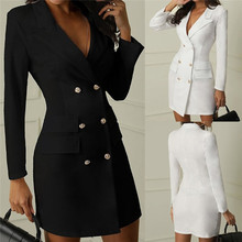 Womens Dress Office Work Double Breasted Button Front Military Style Dress недорого