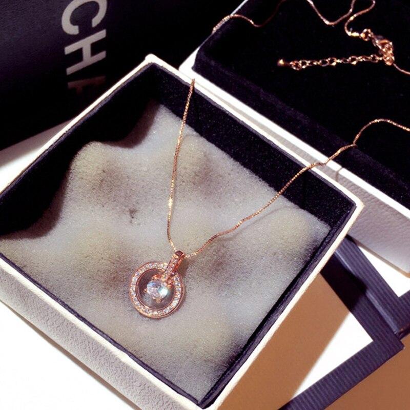 New Arrive Temperament Circle CZ Necklace Gold Silver Color Shine Zircon Delicate Clavicle Choker Wedding Engagement Bijoux