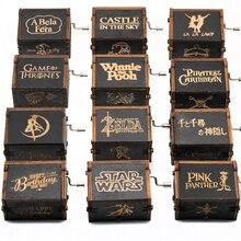 Новая Черная музыкальная шкатулка замок в небе Игра престолов звезда WarsMusic коробка тема песня подарок на день рождения Античная резная деревянная ручка