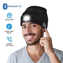 2021 New Bluetooth 5 0 LED Hat Built-in Stereo Speakers amp Mic USB Rechargeable LED Lighted Knit Cap For Sports And Outdoors cheap Adult CN(Origin) Unisex Solid Novelty