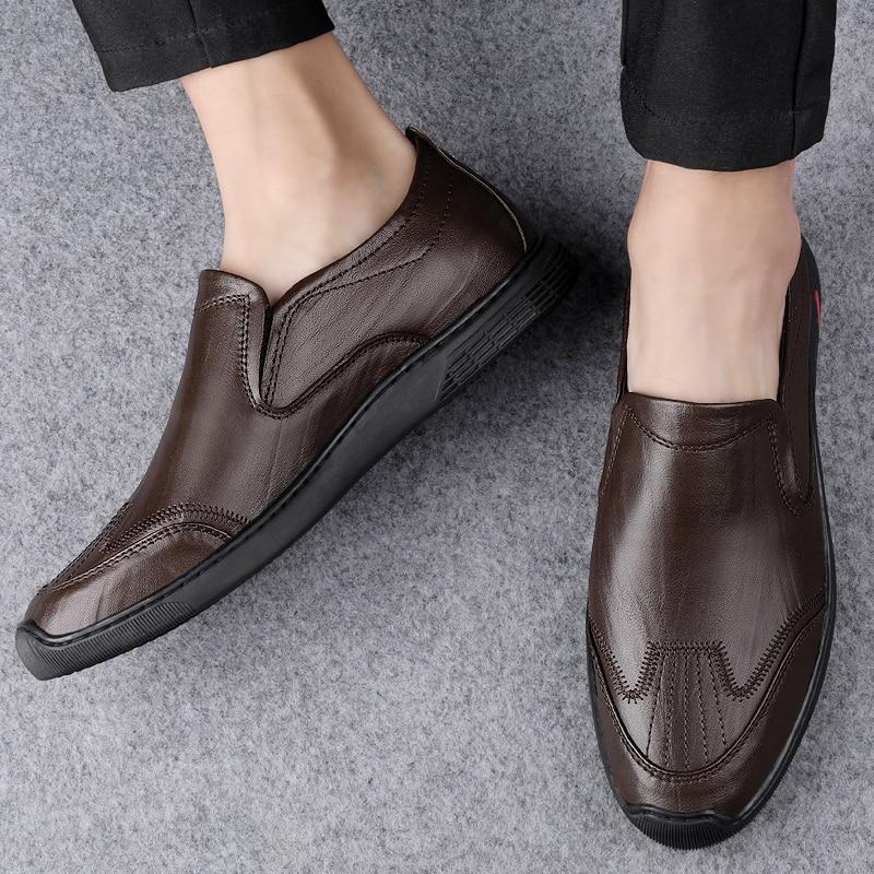 Hommes Marron Cuir Mocassins Chaussons Chaussures /à Enfiler Taille UK 6-11
