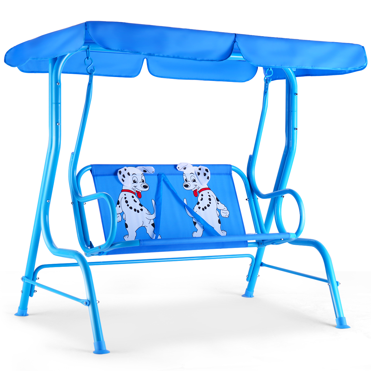Costway Kids Patio Swing Chair Children Porch Bench Canopy 2 Person Yard Furniture Blue