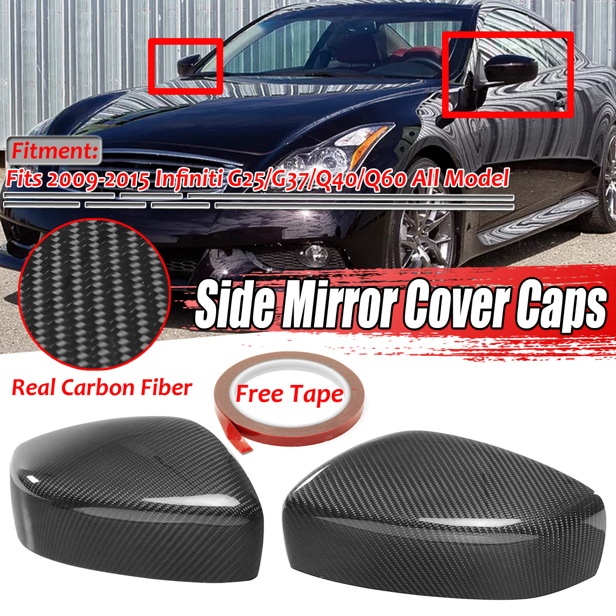 1Pair Carbon Fiber Add-On Side Rear View Mirror Covers For INFINITI G25 G37 Q40 Q60 2009-2015 High Quality Rearview Mirror Cover