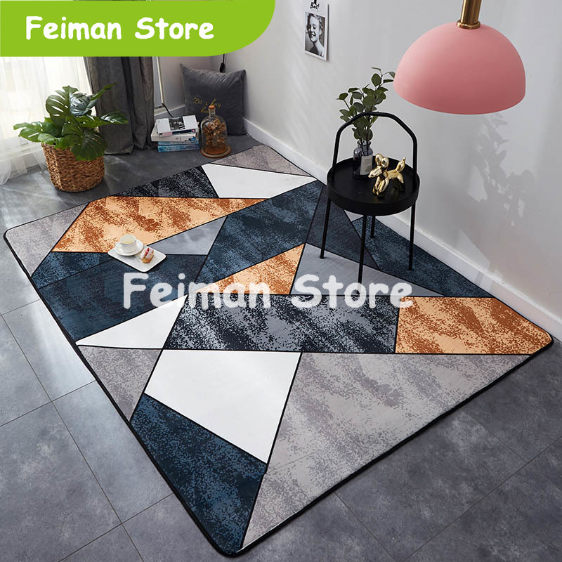 Rectangle Carpet Crystal Velvet Geometric Style Non-slip Rug And Carpets For Home Living Room/Bedroom/Kitchen Mats Alfombra 1PC