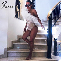 Joskaa Flare Ruched Spring Mesh Polka Dot Party Chic Flare One Shoulder Sleeve Ruched Mini Celebrity Bodysuit Outfit