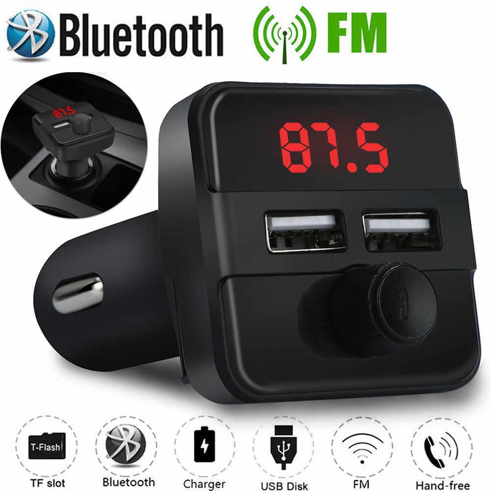 車の Fm 送信機ワイヤレスオーディオプレーヤー bluetooth デュアルポートラジオアダプタ USB 充電器 Mp3 プレーヤー ##0