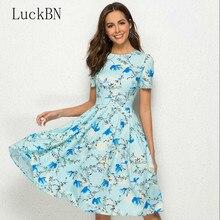 купить Vintage Party Women Dress Casual Elegant Short Sleeve Floral Print Dress Women Clothing Summer Knee Length A Line Dress Vestidos по цене 319.14 рублей