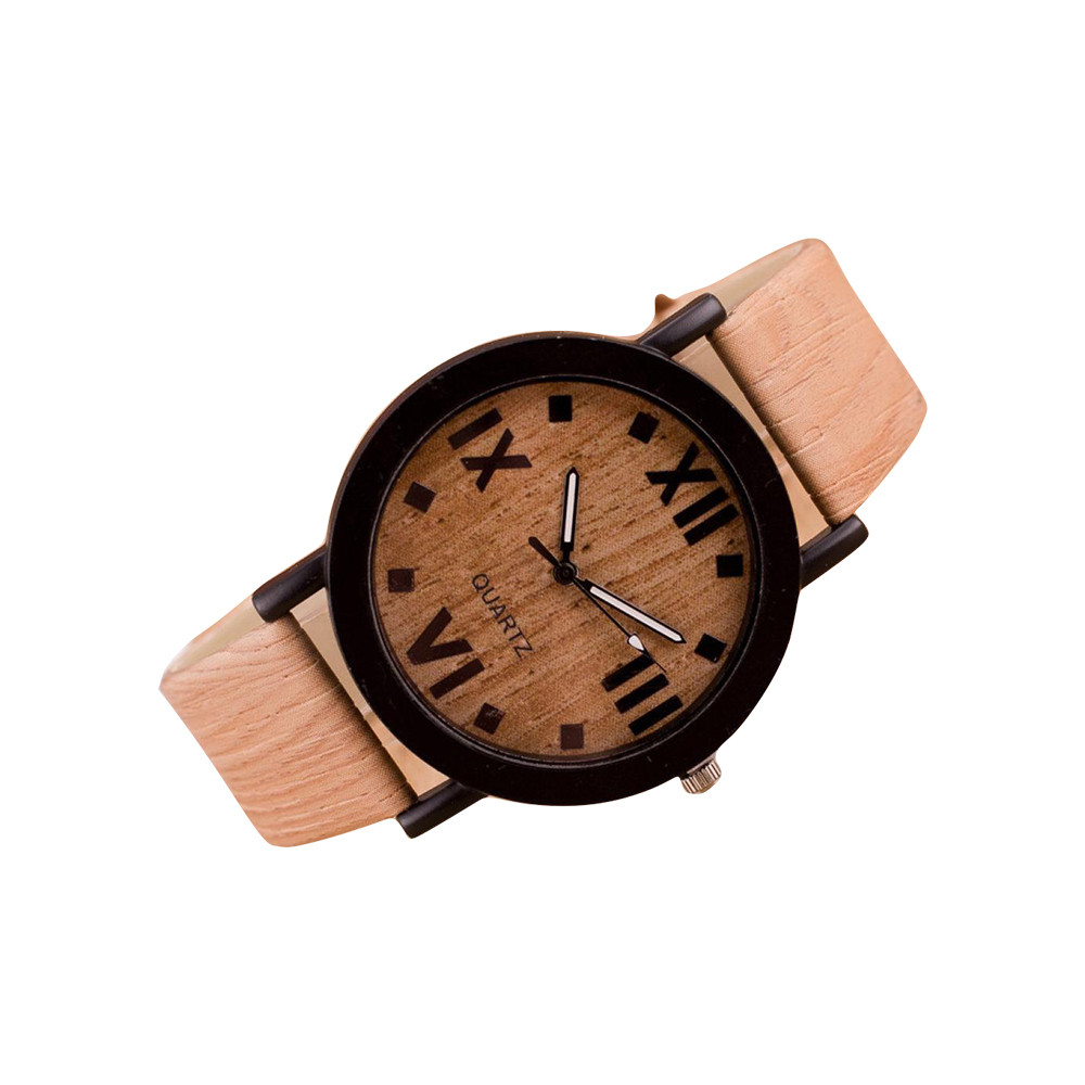 Roman Numerals Wood Leather Band Analog Quartz Vogue Wrist Watches  Female  Gifts For Women Woman Watch Casual Clock