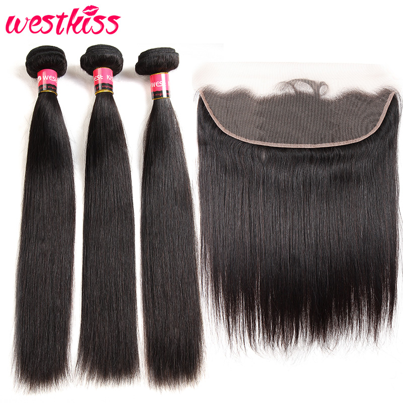 Bundles With Frontal Pre Plucked Lace Frontal With Bundles Peruvian Straight Human Hair 3 Bundles West Kiss Remy Hair
