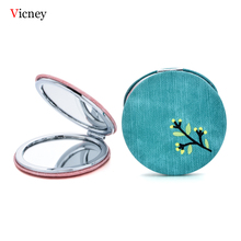 Vicney 2019 New Design Creative Gift Custom Double-Sided Embroidery Folding Mirror Cartoon Pattern Cloth Round Small