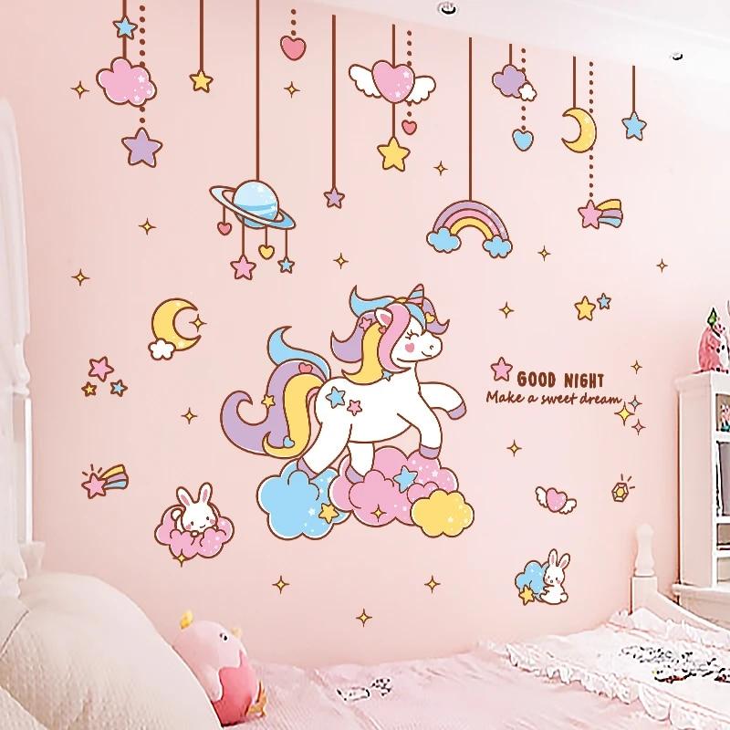 Kartun Lucu Unicorn Hiasan Stiker Dinding Pembibitan Dekorasi Kamar Anak Diy Wallpaper Bayi Kamar Tidur Anak Perempuan Pink Tata Letak Lukisan Dinding Stiker Wall Stickers Aliexpress
