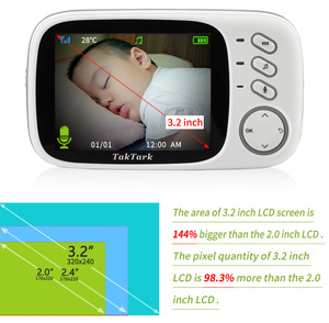 Image 4 - Wireless Video Color Baby Monitor 3.2 inch High Resolution Baby Nanny Home Security Camera Night Vision Temperature Monitoring