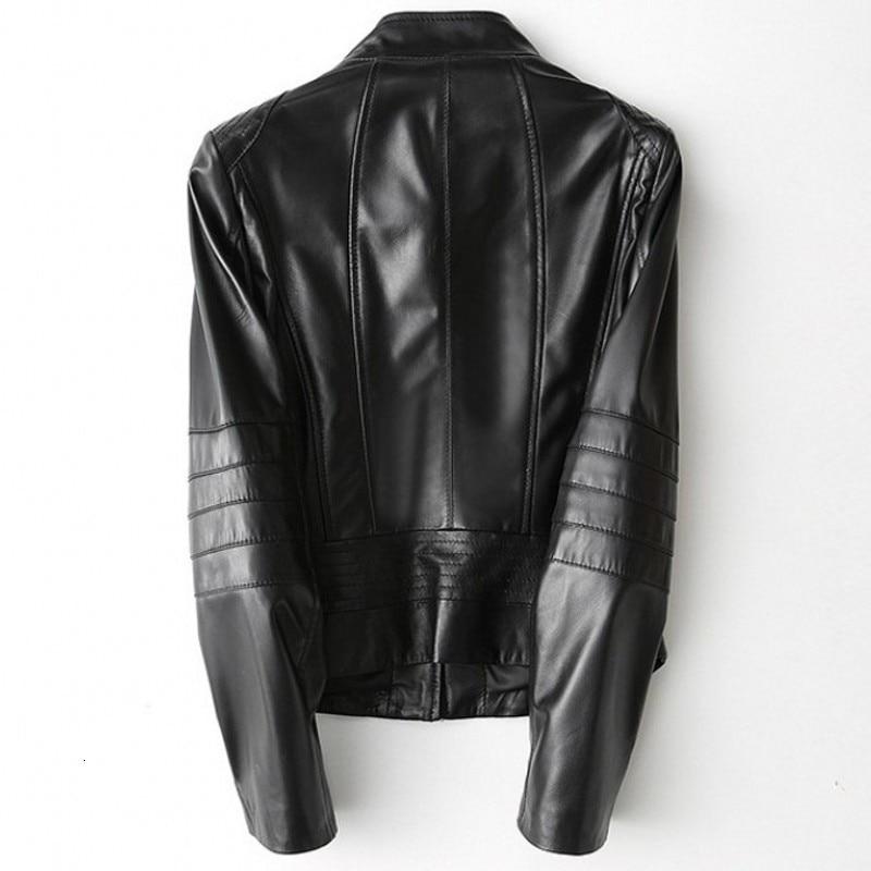 Designer Brand Female Jacket High Quality Real Leather Jacket Slim Fit Sheepskin Outwear Jackets Pocket Zipper Ladies Coat
