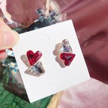 MENGJIQIAO koreański elegancki śliczne czerwone kryształowe kolczyki wkładane z serduszkiem dla kobiet dziewczyn Temperament Boucle D #8217 oreille biżuteria prezenty tanie tanio Ze stopu cynku CN (pochodzenie) Stadniny kolczyki Serce Kobiety TRENDY Moda Push-powrotem