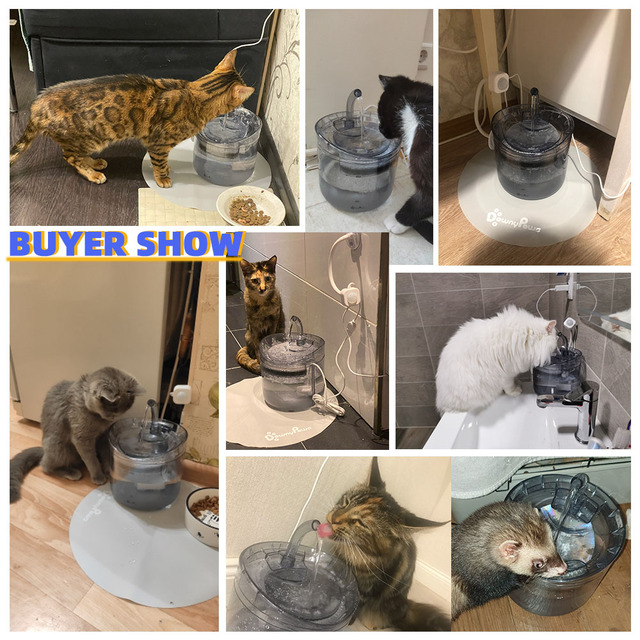 DownyPaws 2L Automatic Cat Water Fountain With Faucet Dog Water Dispenser Transparent Filter Drinker Pet Sensor Drinking Feeder 6