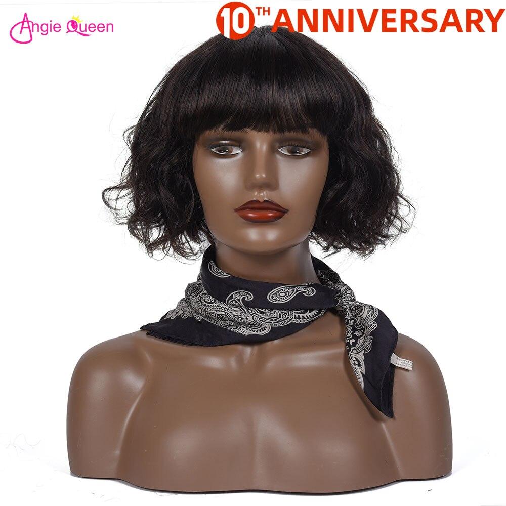 Body Wave Human Hair Wigs Brazilian Hair Wigs Bob Wigs For Black Women With Bang  150% Closure Wig Remy Hair Wig Full Machine Wi