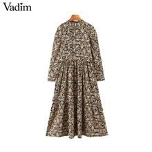Vadim 여성 레트로 뱀 인쇄 미디 드레스 동물 패턴 긴 소매 여성 캐주얼 세련된 중반 송아지 드레스 vestidos qd145
