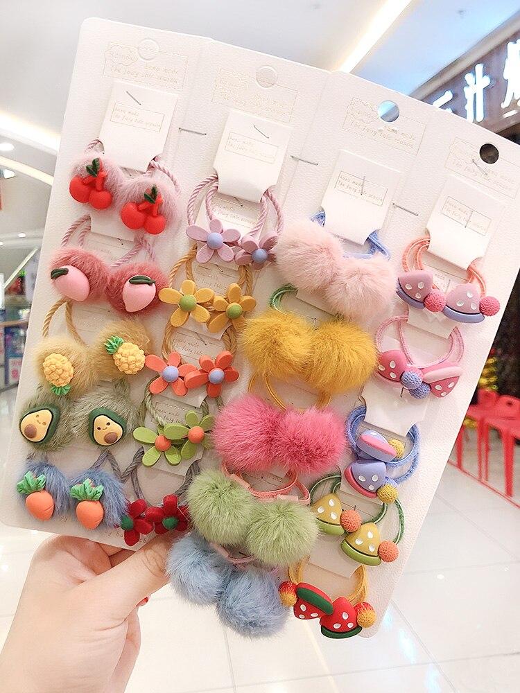 2/6/10/20Pcs/set Girls Cute Cartoon Animals Fruit 3 Cm Elastic Hair Bands Ponytail Holder Scrunchies Kid Hair Accessories