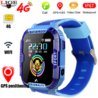 2020 New Stylish blue smart watch for children kids Support 4Gsim card Link WIFI to make a video call GPS Tracker SOS Kid watch