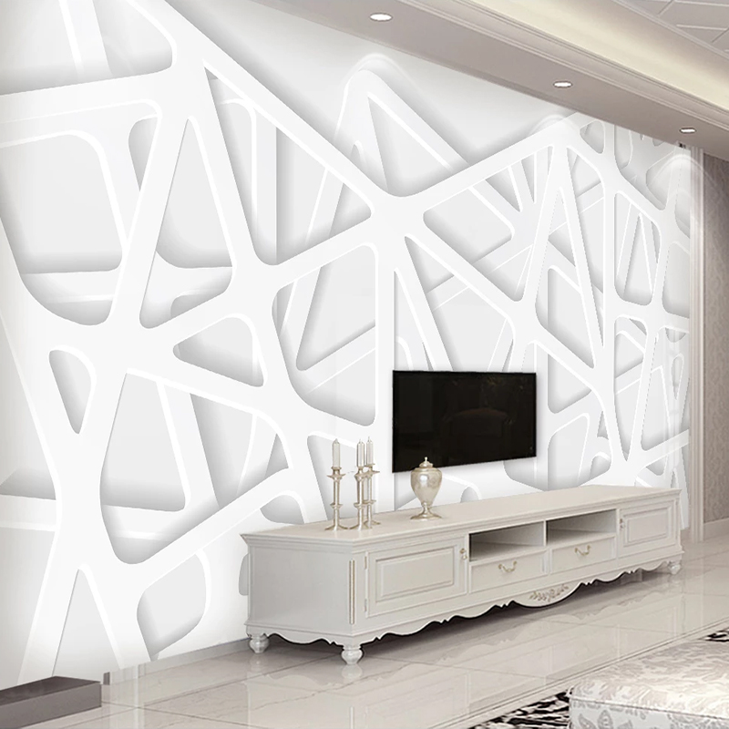 Custom Any Size Wall Cloth Modern 3D Solid Line Space White Mural Living Room TV Cafe Background Wall Decor Papel De Parede 3D