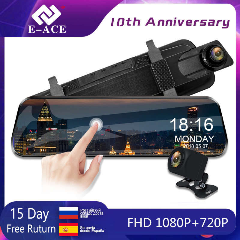 E-ACE Car Dvr Camera 10 Inch Touch Streaming Rear View Mirror Dash Cam FHD 1080P Registrar Video Recorder With Rear View Camera title=