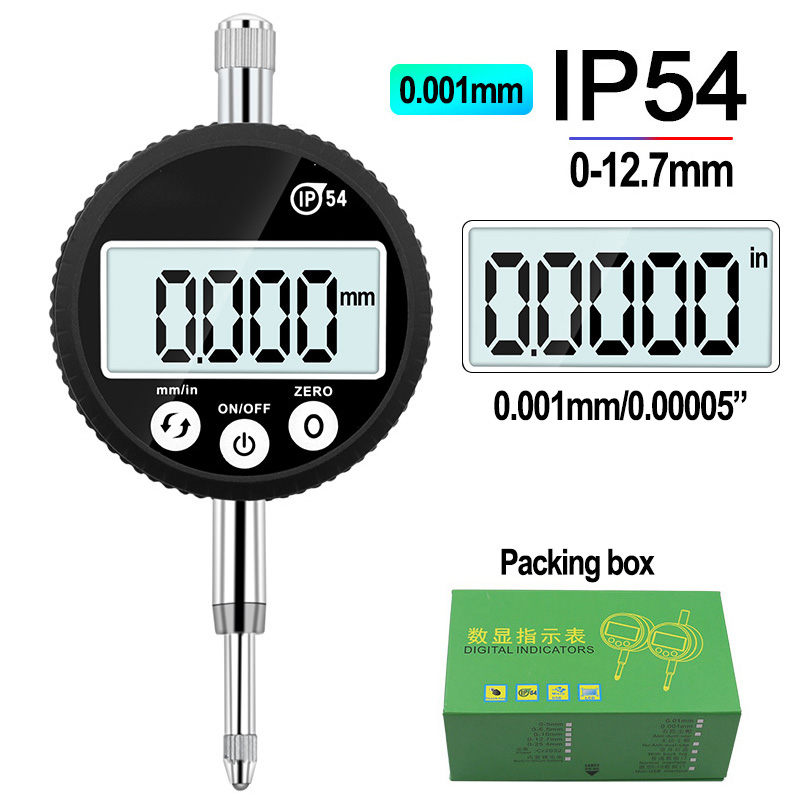 "IP54 Waterproof Digital Indicator 0-12.7mm 0.001mm 0.00005 ""Electronic Micrometer Metric Inch Dial Indicator Gauge"
