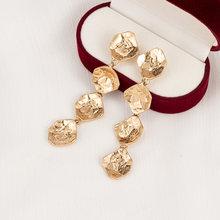 Cor do ouro vintage barra longa borla gota brincos para as mulheres geométrico coreano áspero metal balançar brinco moda jóias 2020 novo