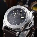 Reloj Automático para hombre 47MM retro PVD plata caja de acero inoxidable cubierta trasera exposición militar esfera negra reloj de marca de lujo