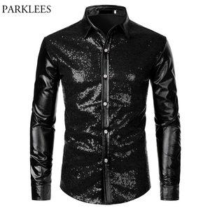 Image 4 - Metallic Silver Mens Stage Shirts Brand Embellished Sequins Shirt Men Social Camisa Masculina Disco Club Costume Chemise Homme