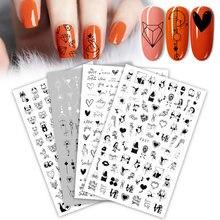 2021new 3d etiqueta do prego legal inglês carta adesivos para folha de unhas amor coração design unhas acessórios moda manicure adesivo