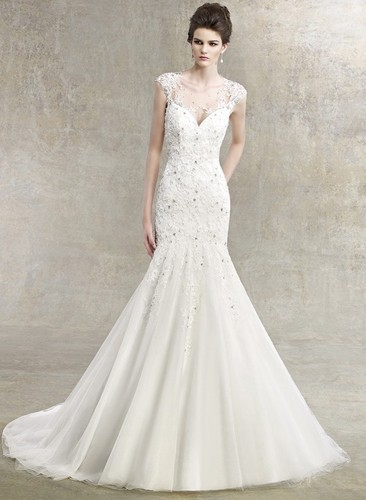 Free Shipping 2016 New Applique Lace Beaded Mermaid Tulle Sheer Wedding Dress Open Back Custom Made Rhinestone Wedding Dress