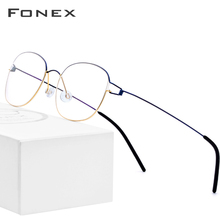 FONEX Titanium Alloy Glasses Frame Men Prescription Eyeglasses Korean Denmark Women Myopia Optical Screwless Eyewear 98618