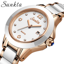 Fashion SUNKTA Brand Luxury Water Resistant Casual Quartz Women Lady Gift Watches White Ceramic Strap Sports Watch Montre Femme luxury white ceramic water resistant classic easy read sports women wrist watch free shipping top quality lady ceramic watches
