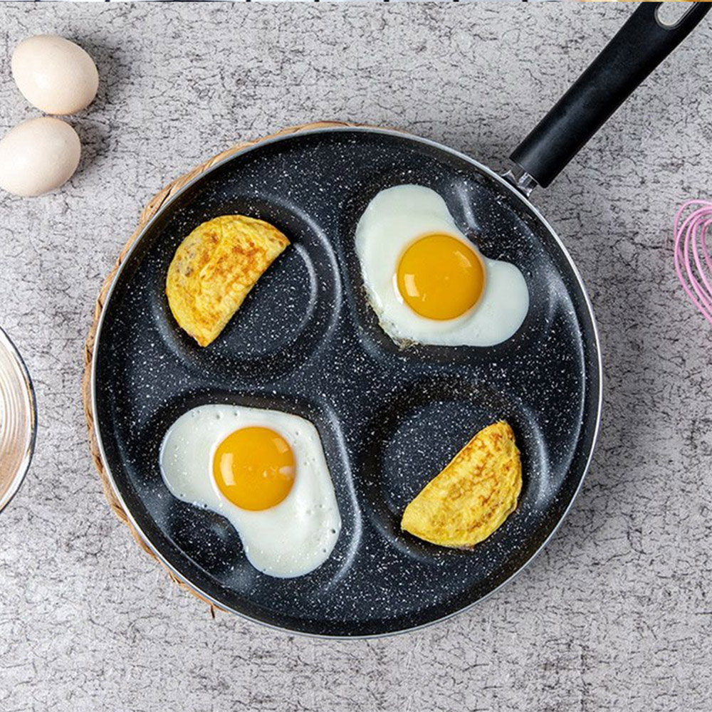 Creative Non-Stick No Oil-Smoke Breakfast Grill Pan Cooking Pot Four-Hole Omelet Pan For Eggs Ham PanCake Maker Frying Pans
