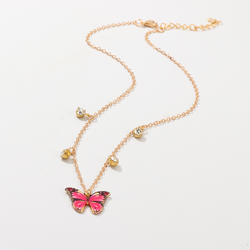 Boho Colorful Butterfly Rhinestone Pendants Necklaces for Women Gold Color 2020 Fashion Jewelry Clavicle Chain Female Simple
