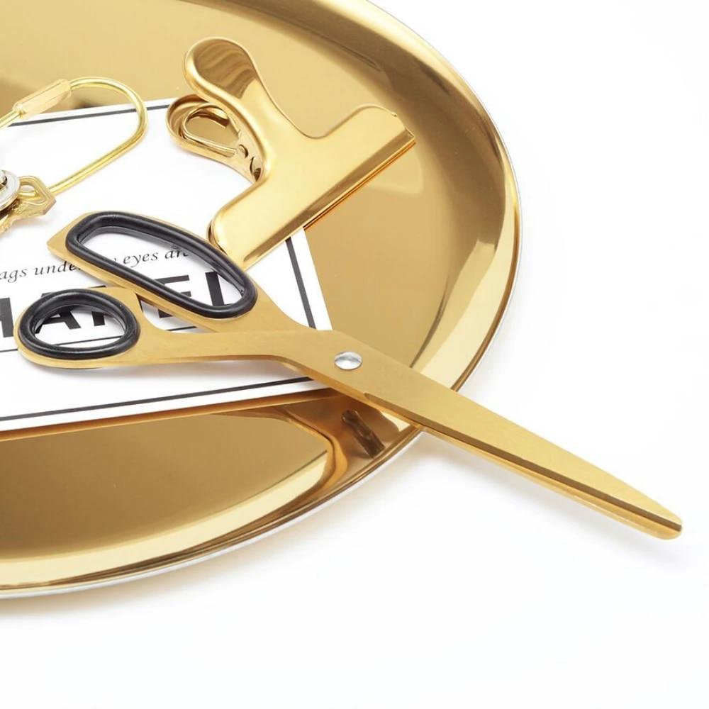 Nordic Asymmetric Scissors Stainless Steel Simple Design Golden Scissors Office Household Scissors Craft Supplies Scissors