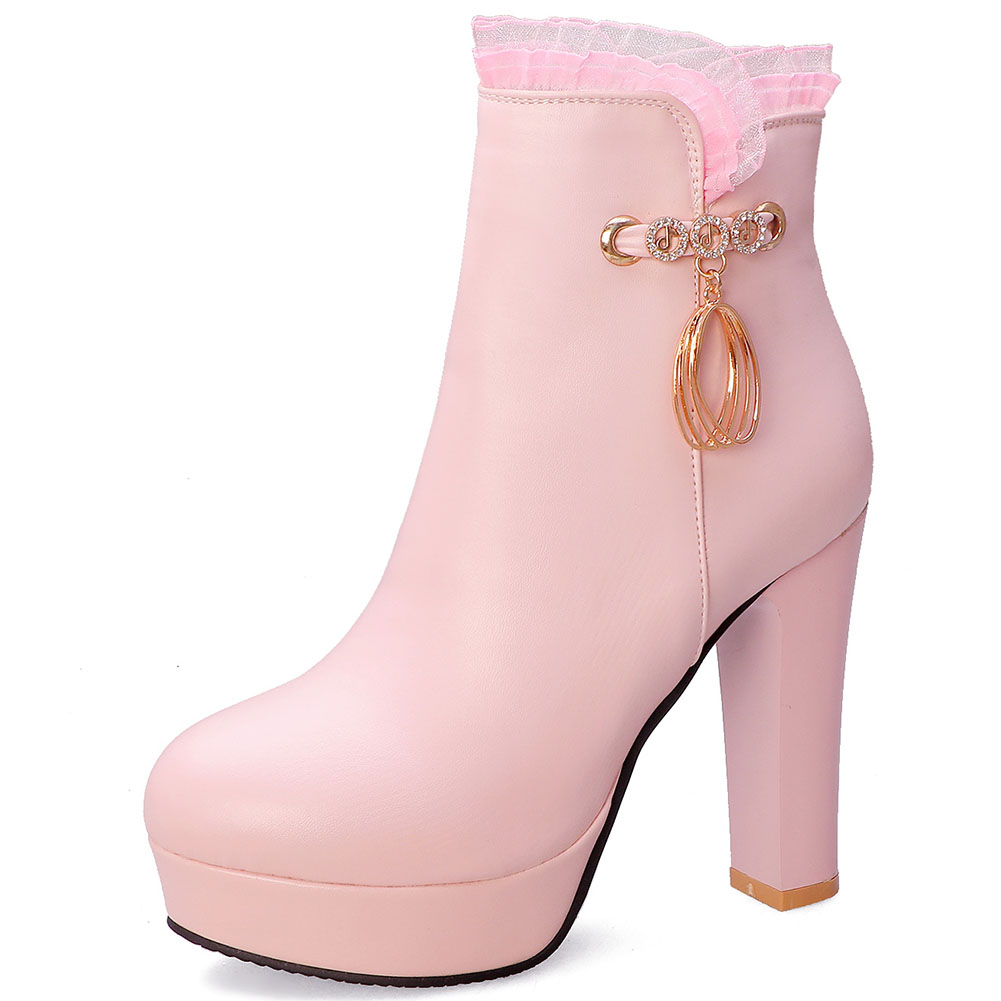 JOUIR 2020 Big size 32-43 new arrivals chunky high heels ankle boots woman shos zip up metal decoration shoes women boots