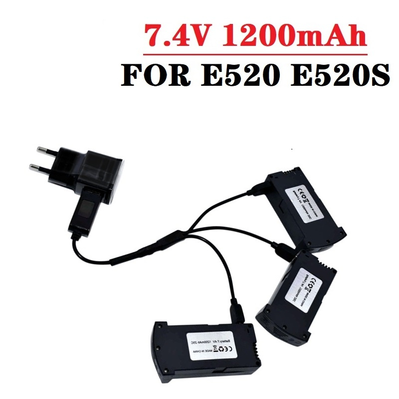 Original 7.4V 1200MAH LiPo Battery For RC E520 E520S RC Quadcopter Spare Parts 1200 MAh 25C 7.4V Drones Battery With Charger
