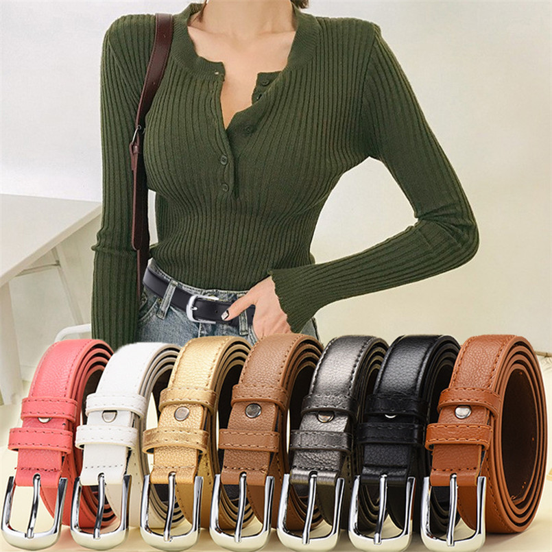 Women Slim Belts Rectangle Metal Buckle Retro Leather Strap Cutting Edge Female Accesories Cinto Feminino Match For Jeans Dress