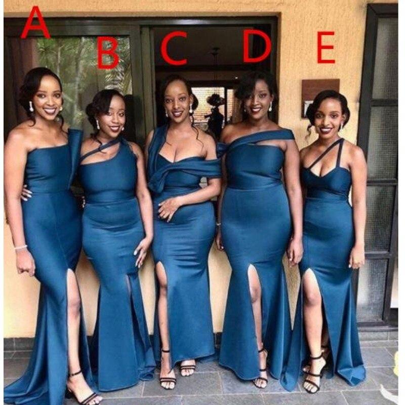 Stili misti Africano Mermaid Abiti Da Damigella D'onore Lungo Side Split Lungo Damigella D'onore Abito di Raso Plus Size Abiti Da Festa di Nozze - 2