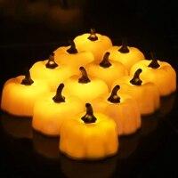 ABUI-12 Pcs כתום דלעת Tealights 3D דלעת Flameless נר אור סוללה מופעל LED תה אורות עבור ליל כל הקדושים חג המולד F