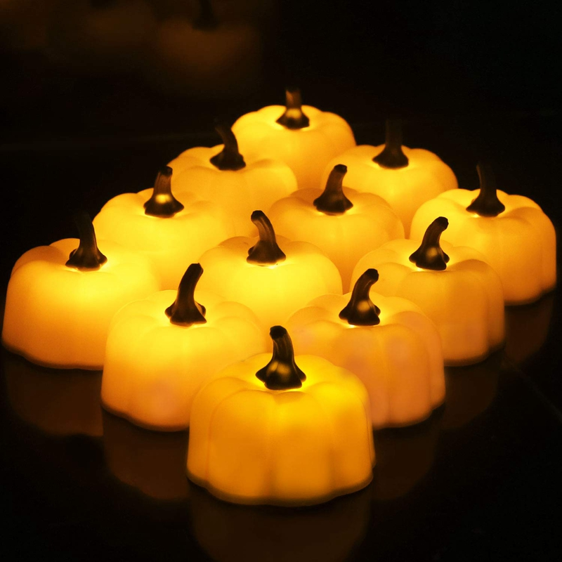 ABUI-12 Pcs Orange Pumpkin Tealights 3D Pumpkin Flameless Candle Light Battery Operated LED Tea Lights For Halloween Christmas F