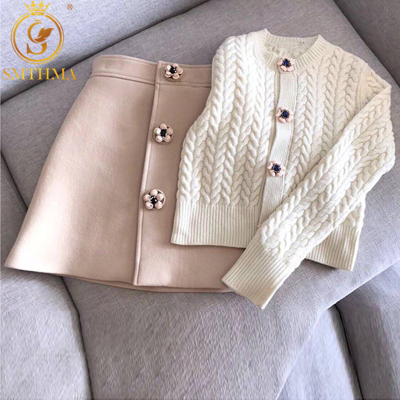 Autumn And Winter Sweet Flower Buttons Skirt Set Suit White Sweater Cardigans & High Waist Woolen Skirts Lady Femme Clothes
